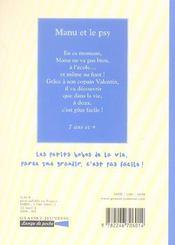 Manu et le psy - 4ème de couverture - Format classique