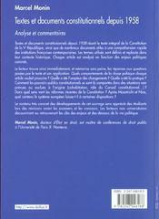 Textes Et Documents Constitutionnels Depuis 1958 - 1e Ed - 4ème de couverture - Format classique