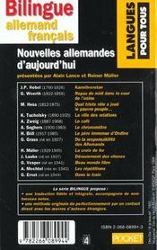 Nouvelles Allemandes D'Aujourd Hui - 4ème de couverture - Format classique