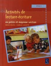 Activités de lecture-écriture ; cycle 1 - Intérieur - Format classique