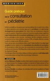 Guide pratique de la consultation en pédiatrie (9e édition) - 4ème de couverture - Format classique