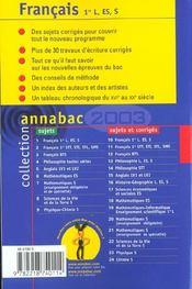 Annabac Sujets & Corriges - 4ème de couverture - Format classique