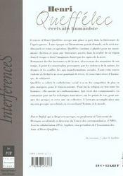 Henri queffelec ecrivain humaniste - 4ème de couverture - Format classique
