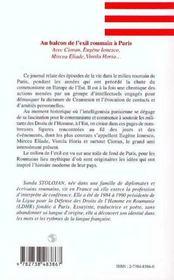 Au balcon de l'exil roumain à Paris ; avec Cioran, Eugène Ionesco, Mircea Eliade, Vintila Horia - 4ème de couverture - Format classique