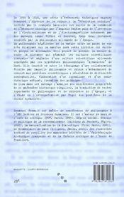 Philosophie chimique. hegel et la science dynamiste de son temps - 4ème de couverture - Format classique