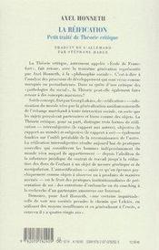 La réification ; petit traité de théorie critique - 4ème de couverture - Format classique