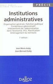 Institutions Administratives - 7e Ed. - Intérieur - Format classique