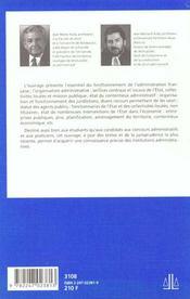 Institutions Administratives - 7e Ed. - 4ème de couverture - Format classique