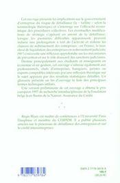 La Faillite ; Elements D'Analyse Economique - 4ème de couverture - Format classique