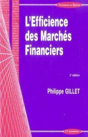 L'Efficience Des Marches Financiers (2e Edition) - Intérieur - Format classique