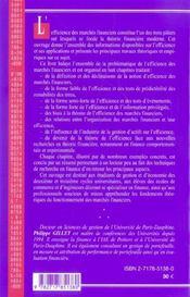 L'Efficience Des Marches Financiers (2e Edition) - 4ème de couverture - Format classique