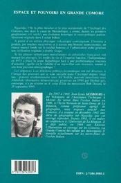 Espace Et Pouvoirs En Grande Comore - 4ème de couverture - Format classique