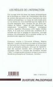 Les Regles De L'Interaction ; Essais En Philosophie Sociologique - 4ème de couverture - Format classique