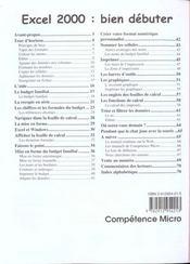 Competence Micro ; Excel 2000 Niveau 1 Cpm - 4ème de couverture - Format classique