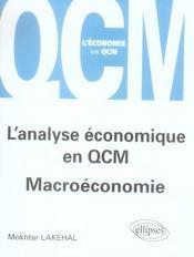 L'Analyse Economique En Qcm Macroeconomie - Intérieur - Format classique