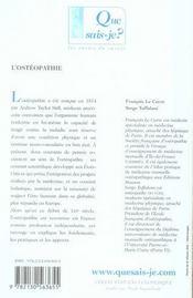 L'ostéopathie - 4ème de couverture - Format classique