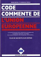 Code Commente De L'Union Europeenne - Intérieur - Format classique