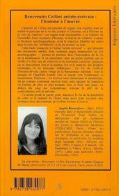 Benvenuto Cellini, Artiste-Ecrivain : L'Homme A L'Oeuvre - 4ème de couverture - Format classique
