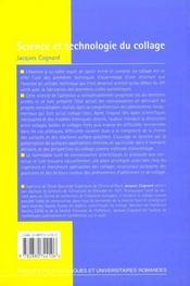 Science et technologie du collage - 4ème de couverture - Format classique