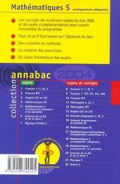 Annabac T.00018 ; Enseignement Obligatoire ; Sujets Corriges (édition 2004) - 4ème de couverture - Format classique