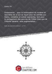 Ordonnance... pour la continuation du sixième et neuvième de ce qui se reçoit pour les entrées aux Opéra, comédies et autres spectacles, tant pour le soulagement des pauvres de l'Hôtel-Dieu que de l'Hôpital Général, sans augmentation... [Edition de 1719] - Couverture - Format classique