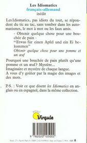 Idiomatics Francais-Allemand (Les) - 4ème de couverture - Format classique