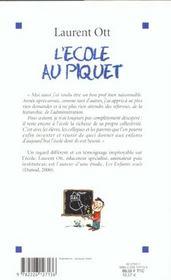 L'Ecole Au Piquet - 4ème de couverture - Format classique