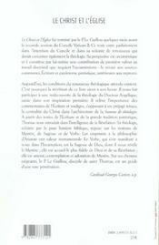 Le christ et l'eglise theologie du mystere - 4ème de couverture - Format classique