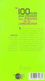 Cent mots pour introduire aux theories de la communication - 4ème de couverture - Format classique
