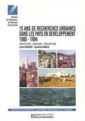 15 ans de recherches urbaines dans les pays en developpement - Couverture - Format classique