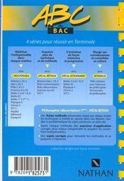 Abc Terminale Philo Dissertation Special Methode - 4ème de couverture - Format classique