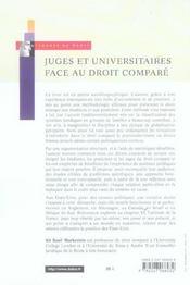 Juges et universitaires face au droit comparé ; histoire des trente-cinq dernières années - 4ème de couverture - Format classique