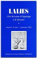 Revue Lalies N.9 - Couverture - Format classique