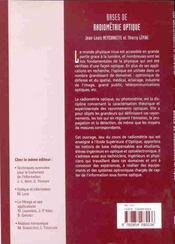 Bases de radiometrie optique ; 2e edition - 4ème de couverture - Format classique