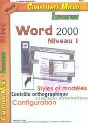 Competence Micro ; Word 2000 Niveau 1 - Intérieur - Format classique