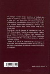 Pratique de l'anglais médical ; lexique à l'usage des professionnels de la santé - 4ème de couverture - Format classique