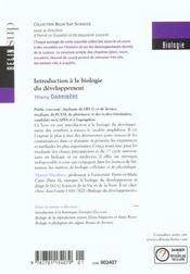 Introduction à la biologie du développement - 4ème de couverture - Format classique
