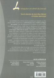 Le singulier en droit du travail - 4ème de couverture - Format classique