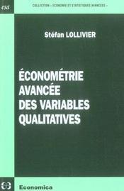 Econometrie Avancee Des Variables Qualitatives - Intérieur - Format classique