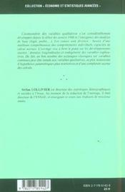 Econometrie Avancee Des Variables Qualitatives - 4ème de couverture - Format classique