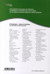 Orthographe ; règles et pratique - 4ème de couverture - Format classique