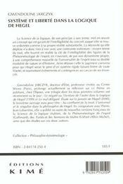 Systeme et liberte dans la logique de hegel - 4ème de couverture - Format classique