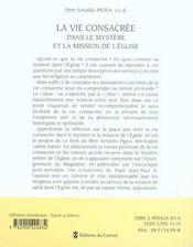 Vie consacrée dans le mystère et la mission de l'église - 4ème de couverture - Format classique