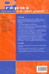 L'Epreuve De Culture Generale A L'Oral Des Grands Concours - 4ème de couverture - Format classique