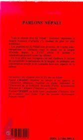 Parlons népali - 4ème de couverture - Format classique