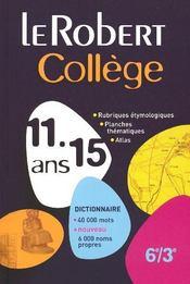 Le Robert collège ; 6ème/3ème ; 11/15 ans - Intérieur - Format classique
