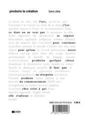 Produire La Creation - Couverture - Format classique