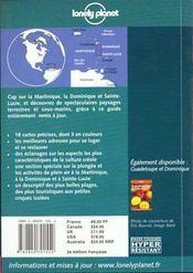 Martinique, Dominique Et Sainte-Lucie - 4ème de couverture - Format classique
