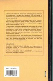Dictionnaire de pédagogie (2e édition) - 4ème de couverture - Format classique