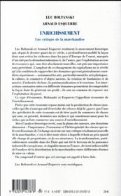 Enrichissement ; une critique de la marchandise - 4ème de couverture - Format classique